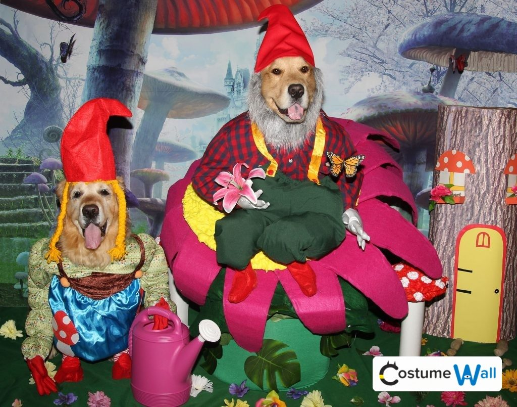 phoenix and gryphon as friendly garden gnomes halloween pets