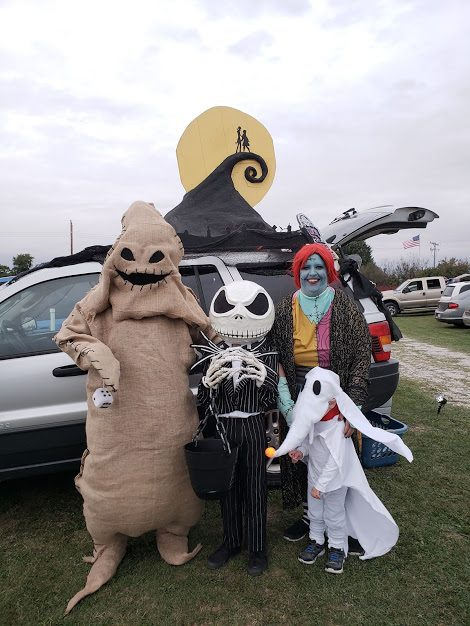 Jack Skellington, Oogie Boogie, Sally, and Zero