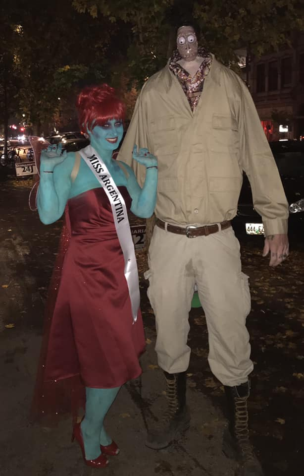 Miss Argentina And Shrucken Head Guy From Beetlejuice Halloween Costume Contest