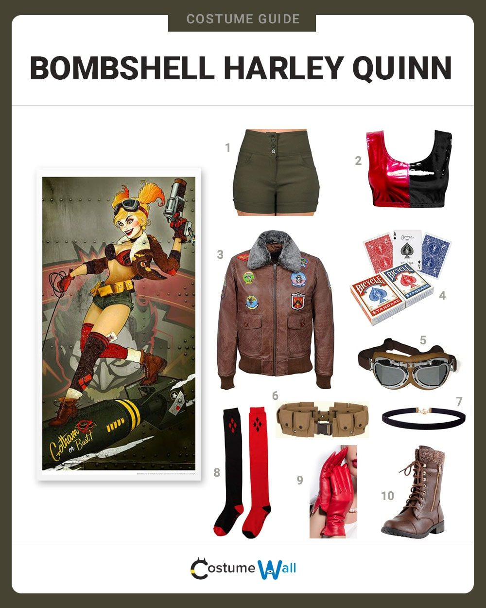 2f8d2de566b0fb Batman Female Comics. Bombshell Harley Quinn Costume Guide